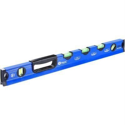 КОБАЛЬТ Уровень строительный 600 мм, профиль 28 x 60 мм, 5 глазков, 1 ручка, V-паз, точность 1,0 мм/м, для водных работ 243-332