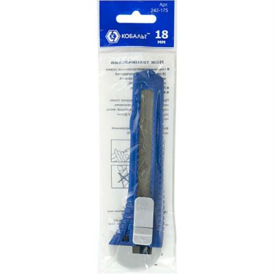 КОБАЛЬТ Нож технический лезвие 18 мм, пластиковый корпус, пакет 242-175