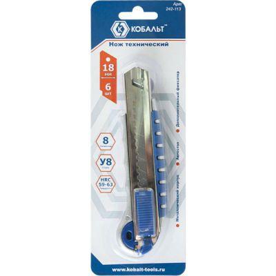 КОБАЛЬТ Нож технический лезвия 18 мм (6 шт.), металлический корпус, автостоп, доп. фиксатор, блистер 242-113