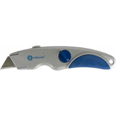 КОБАЛЬТ Нож технический трапециевидные лезвия 19 мм (3 шт.), металлический корпус, блистер 242-106