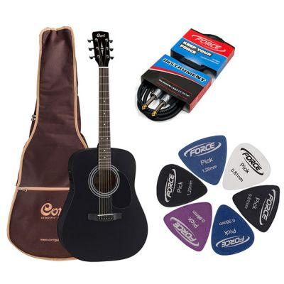 Электроакустическая гитара Cort AD810E BKS + гитарный комплект