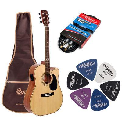 Электроакустическая гитара Cort AD880CE NAT + гитарный комплект