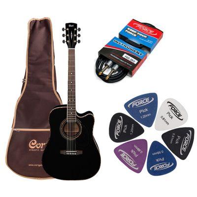 Электроакустическая гитара Cort AD880CE BK + гитарный комплект