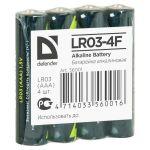 Батарейки Defender Alkaline AAA 1.5V LR03-4F (4шт) 56001