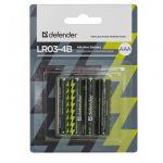 Батарейки Defender Alkaline AAA 1.5V LR03-4B (4шт) 56002