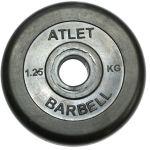 Диск MB Barbell обрезиненный, чёрного цвета, 26 мм, Atlet MB-AtletB26-1,25