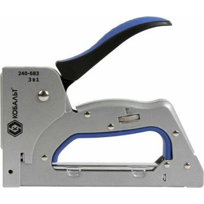Степлер КОБАЛЬТ механический 3 в 1 скобы 6-14 мм, тип 53, шпильки, гвозди, регулятор удара 240-683