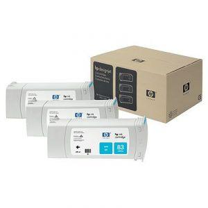 Расходный материал HP 83 3-pack 680-ml Cyan uv Cartridges C5073A