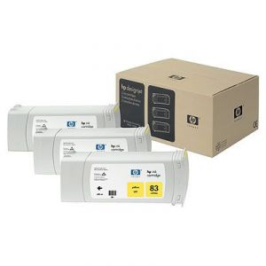 Расходный материал HP HP 83 3-pack 680-ml Yellow uv Cartridges C5075A