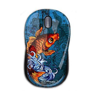 Мышь проводная Ed Hardy Tattoo Mouse Koi Fish Blue MO09A06F