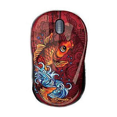 Мышь проводная Ed Hardy Tattoo Mouse Koi Fish Red MO09A05F