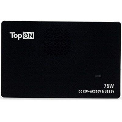 TopON Универсальный автомобильный инвертор для ноутбука 75W, slim inverter, USB TOP-VM75D