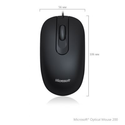 Мышь проводная Microsoft Optical 200 USB Black(3btn+Roll, 1000dpi) For Business 35H-00002