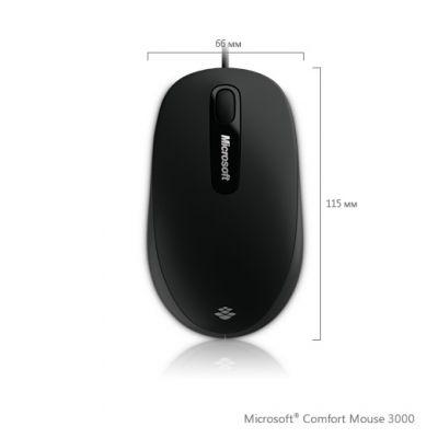 Мышь проводная Microsoft Comfort 3000 Back (1000 dpi, BlueTrack™, USB, 3btn+Roll) Retail S9J-00004