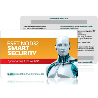 ESET NOD32 Smart Security - ��������� �������� �� 1 ��� �� 3�� (0+) NOD32-ESS-RN(CARD3)-1-1