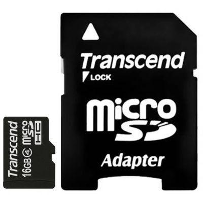 Карта памяти Transcend 16GB microSDHC class4 с адаптером sd TS16GUSDHC4
