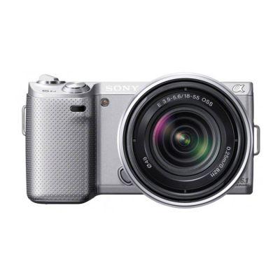Зеркальный фотоаппарат Sony Alpha NEX-5NK Kit 18-55 mm Silver (ГТ Sony)