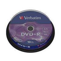 DVD/CD Verbatim Диск DVD+R 4.7 Gb, 16x, Cake Box (10) 43498