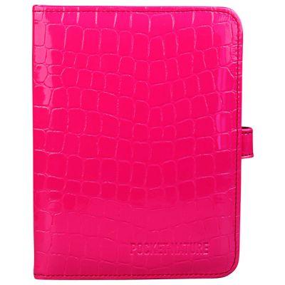 Чехол Pocket Nature универсальный для электронных книг (розовый крокодил с ремешком) COV-ONYX-6PI-CR