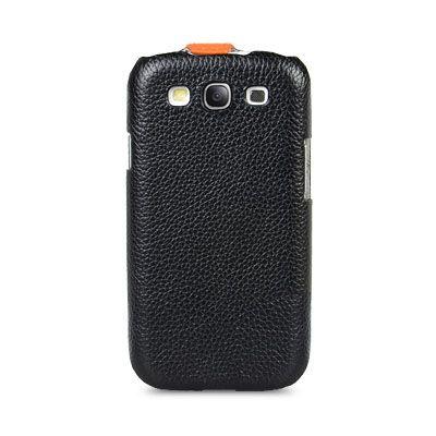 Чехол Melkco Jacka Type для Samsung Galaxy S3 - черный с оранжевой полосой