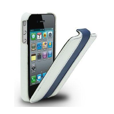 Чехол Melkco Jacka Type для Iphone 4s – белый с голубой полосой