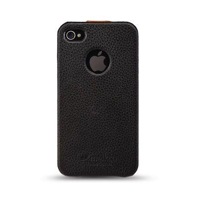 Чехол Melkco Jacka id Type для Iphone 4s - черный с оранжевой полосой