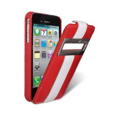 Чехол Melkco Jacka id Type для Iphone 4s – красный с белой полосой