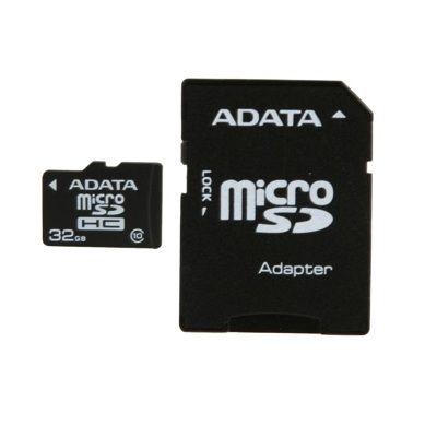 Карта памяти ADATA 32GB A-DATA microSDHC Class 10 (SD адаптер) AUSDH32GCL10-RA1