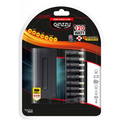 Ginzzu универсальный сетевой адаптер GA-10120U (120W, 2xUSB, 12V-24V, 9 DC-IN переходников)
