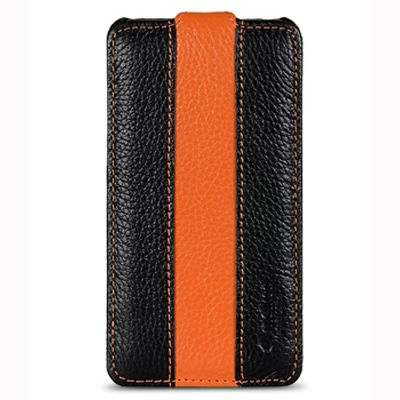 Чехол Melkco Jacka Type для Sony Xperia P - черный с оранжевой полосой