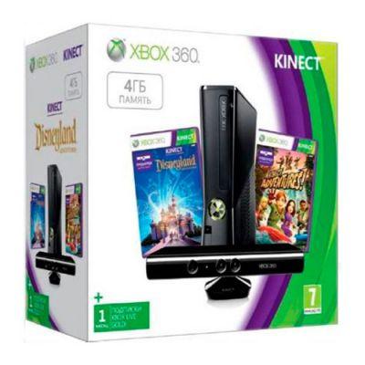 Игровая приставка Microsoft Xbox 360 4Gb kinect + игры Kinect Adventures, Kinect Disneyland (S4G-00155)